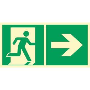 Kierunek do wyjścia ewakuacyjnego w prawo DE - 200 x 400mm AE097DEFE