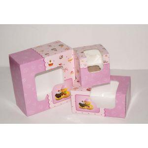 Pudełko cukiernicze 18x18x9 BABETKI biało/brązowe z okienkiem, cena za op. 50szt