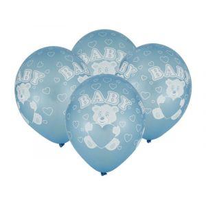 "Balloons 12"" Baby Boy metallic, 4 pcs"