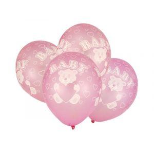 """Balloons 12"""" Baby Girl metallic, 4 pcs"""