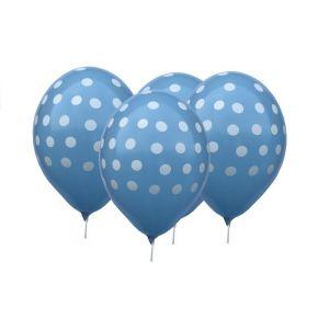"Balloons 12"" Blue Dots, 4 pcs"