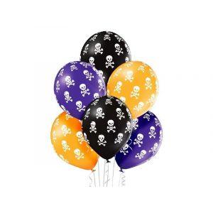 """Balloons 12"""" Halloween Skulls Color, 6 pieces"""