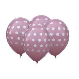 """Balloons 12"""" Pink Dots, 4 pcs"""