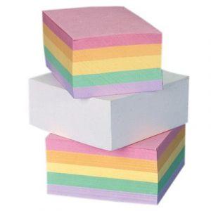 Kostka papierowa klejona, kolorowa, 90x65x35 mm, Has
