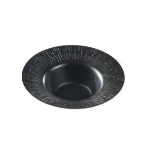 Miska z trzciny cukrowej okragła czarna ozdobny rant, czarne PLA, op.50szt., fi.18x5cm