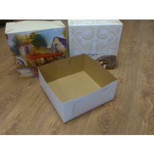Denko do pudełka tortowego PROWANSJA lub ORNAMENT 32x32x14 karton biały/brąz bez nadruku, cena za op. 50 szt