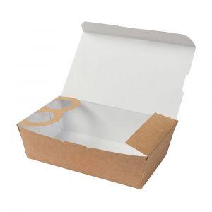 Pudełko na wynos TAKEAWAY z uchwytem na dip i pokrywką 1000ml 195 x 115 x 55 mm, powlekane bio-woskiem op. 250 sztuk