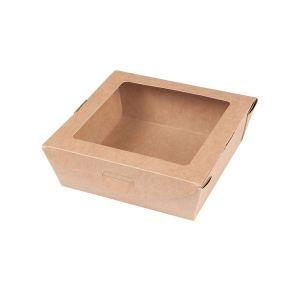 Pudełko sałatkowe z oknem PLA 700ml brązowe 100% biodegradowalne op. 300 sztuk