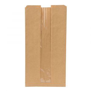 Torebki papierowe z oknem PLA 20x11x40 op.500szt., biodegradowalne