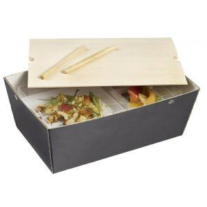 Lunch Box Bourriche Case szary łupek podstawa kartonowa, 290x185x105mm, op.50szt., biodegradowalne (k/50)