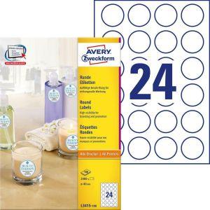 Avery Zweckform self-adhesive labels, round fi40, 100 pcs. 2400 pcs.