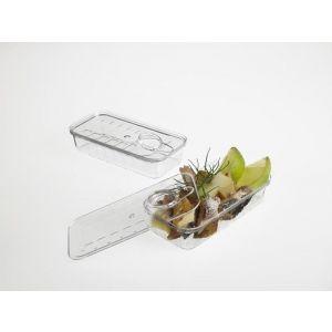 FINGERFOOD - puszka prostokątna z pokrywką 70ml krystaliczna PS op. 12 sztuk