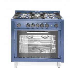 Kuchnia gazowa 5-palnikowa z konwekcyjny m piekarnikiem elektrycznym i z grillem,