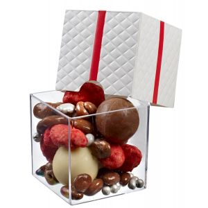 FINGERFOOD pojemnik prezent 160ml biały, kwadratowy, 6x6x5,5cm, op. 25 sztuk
