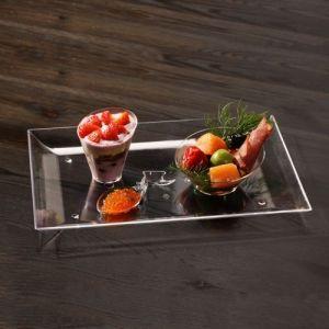 FINGERFOOD - taca cateringowa PS transparentna 26,6x18xh.2cm op. 6 sztuk