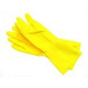 Rękawiczki gumowe flokowane żółte M MASTER