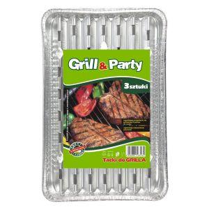 GRILL & PARTY - tacki aluminiowe duże, prostokątne op. 3 sztuki