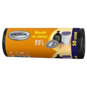 Worki na śmieci HDPE 35l GROSiK -50szt na rolce