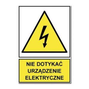 Nie dotykać! Urządzenie elektryczne BK - 148 x 105mm HA001BKFN