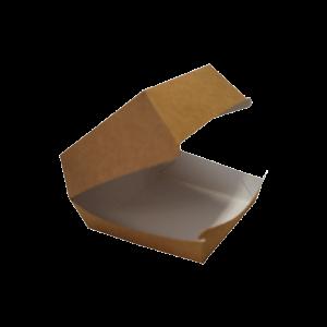 Pudełko hamburger mega, biało/brązowe, 150x150x80mm, bez nadruku, op. 100 sztuk