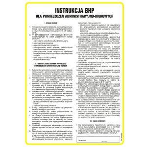 Ogólna instrukcja BHP dla pomieszczeń administracyjno-biurowych DN - 350 x 245mm IAA13DNHN