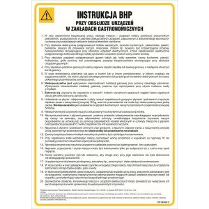 Instrukcja BHP przy obsłudze urządzeń w zakładach gastronomicznych DN - 350 x 245mm IAG09DNHN