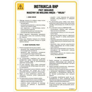 IAG18 Instrukcja BHP przy obsłudze  maszyny do mielenia mięsa - Wilk 350x245mm