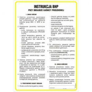 Instrukcja BHP przy obsłudze gaśnicy proszkowej DN - 350 x 245mm IAA20DNHN