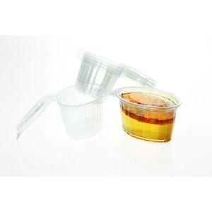 Pojemnik sos, dip, degustacja PET z pokrywką na zawiasie 100ml krystaliczny op. 100 sztuk