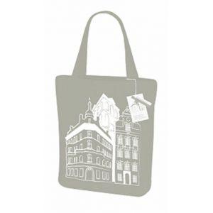 GREENBAG Cotton bag TOWNHAUSES grey, 420x380x80 (k/10)