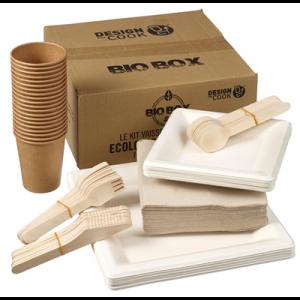 BIOBOX zestaw dla 20 osób talerze+kubki+ serwetki+sztućce, biodegradowalne (k/1)