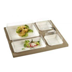 Lunch Set - Kanopee 4 białe tacki 375x310x65mm, 1 kpl. biodegradowalny (k/25)
