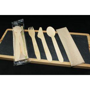 Konfekcja eco-set DREWNO widelec+nóż+łyżka+serwetka eko 100% biodegradowalne op. 200 kpl
