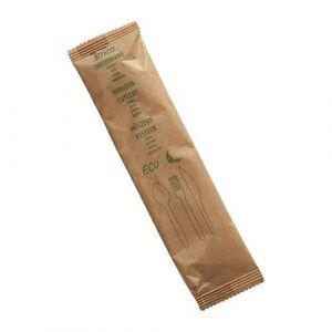 Konfekcja eco-set Drewno 1 papierek op.300 szt, nóż+widelec+łyżka+serwetka