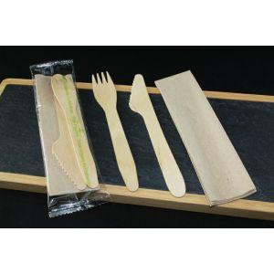 Konfekcja eco-set DREWNO widelec+nóż+serwetka eko 100% biodegradowalne op. 200 kpl