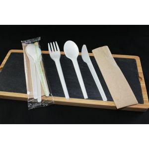 Konfekcja eco-set PLA biała, widelec+nóż+łyżka+serwetka 100% biodegradowalne op. 200 kpl