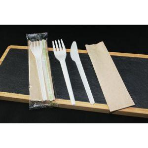 Konfekcja eco-set PLA biała, widelec+nóż+serwetka eko 100% biodegradowalne op. 200 kpl