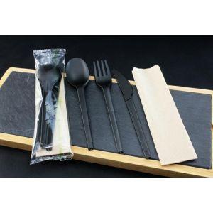 Konfekcja eco-set PLA czarna, widelec+nóż+łyżka+serwetka 100% biodegradowalne BLACK PREMIUM EDITION op. 200 kpl