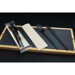 Konfekcja eco-set PLA czarne, widelec+nóż+serwetka 100% biodegradowalne BLACK PREMIUM EDITION op. 200 kpl
