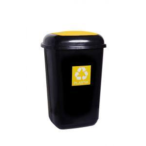 Kosz Quatro 45 L, czarny, segregacja PLASTIK