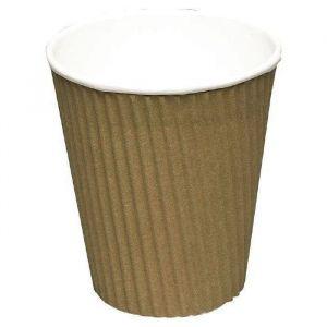 Kubek papierowy 100ml 2W ECO Ripple Wrap, espresso brązowo-biały op. 40 sztuk