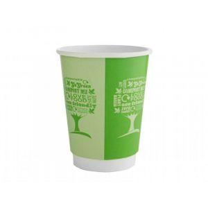 Kubek papierowy Green Tree powlekany PLA 350ml VEGWARE śr.90mm 2W biodegradowalny op. 25 sztuk
