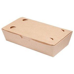 LUNCH BOX 20x10x5cm karton biało-brązowy klejony TnG op. 100 sztuk
