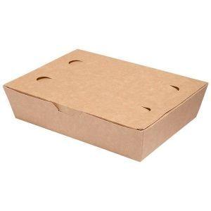 LUNCH BOX 20x14x5cm karton biało-brązowy klejony TnG op. 100 sztuk