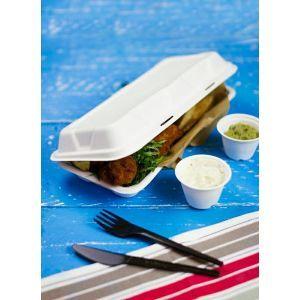 """MENUBOX z trzciny cukrowej """"fish&chips"""" VEGWARE 310x145x60mm 100% biodegradowalny op. 125 sztuk"""