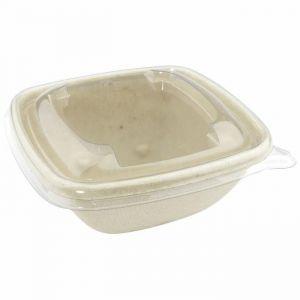 Miska z trzciny cukrowej POKRYWKA PET kwadratowa 132x132xh.54mm, (do 133217, 133218) op. 50 sztuk
