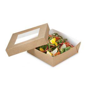 Pudełko brązowe TAKEAWAY 400ml z oknem, 100x100x40mm, op.50 kpl. (k/6)