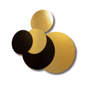 Podkładki pod tort złoto-czarne fi.32cm okrągłe op.100szt