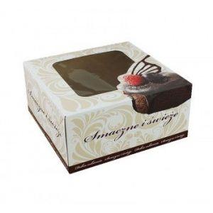 Pudełko cukiernicze 18x18x9 biało/brązowe z okienkiem, cena za op. 50szt