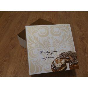 Pokrywka do pudełka tortowego ORNAMENT 32x32x14cm karton biało/brąz, nadruk cukierniczy, cena za op.50 szt